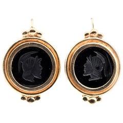 14 Karat Yellow Gold, Bezel Set, Black Onyx Engraved Intaglios