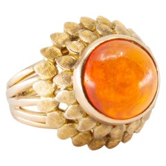 14 Karat Yellow Gold Bezel Set Fire Opal Ring
