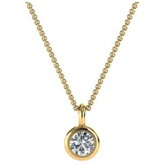 14 Karat Yellow Gold Bezel Solitaire Diamond Pendant 'Cente, 1/5 Carat'