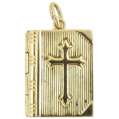 14 Karat Yellow Gold Bible Locket Charm