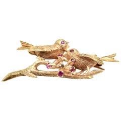 14 Karat Yellow Gold Bird Pin with Accented Rubies