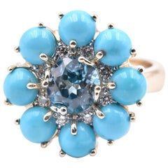 14 Karat Yellow Gold Bisbee Turquoise with Blue Zircon and Diamond Ring