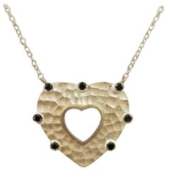 14 Karat Yellow Gold Black Diamond Hammered Heart Necklace
