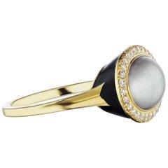 14 Karat Yellow Gold Black Enamel, Gray Pearl and Diamond Cocktail Ring
