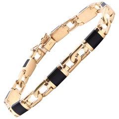 14 Karat Yellow Gold Black Onyx Fancy Link Bracelet