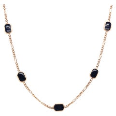 14 Karat Yellow Gold Black Onyx Figaro Necklace