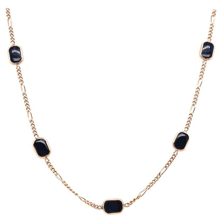 14 Karat Yellow Gold Black Onyx Figaro Necklace For Sale