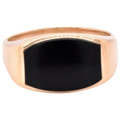 14 Karat Yellow Gold Black Onyx Signet Style Ring