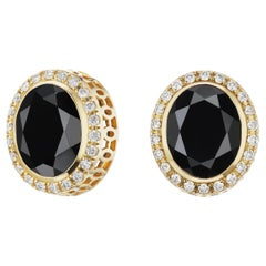14 Karat Yellow Gold Black Spinel and Diamond Halo Stud Earring