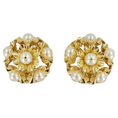 14 Karat Yellow Gold Blooming Flower Pearl Clip-On Earrings