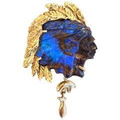 14 Karat Yellow Gold Blue and Brown Opal Native American Chief Slide Pendant