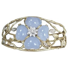 "14 Karat Yellow Gold Blue Chalcedony and Diamond ""Bark"" Cuff"