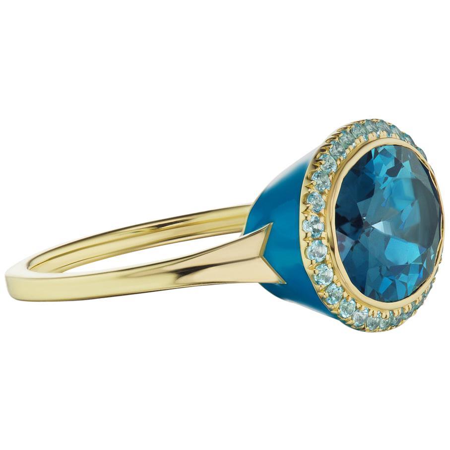 14 Karat Yellow Gold Blue Enamel Blue Topaz Ring