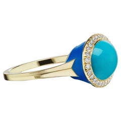14 Karat Yellow Gold Blue Enamel Turquoise Cabochon and Diamond Ring