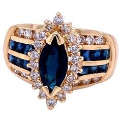 14 Karat Yellow Gold Blue Sapphire and Light Brown Diamond Ring