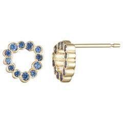14 Karat Yellow Gold Blue Sapphire Stud Earrings