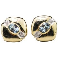 14 Karat Yellow Gold Blue Topaz and Diamond Earrings