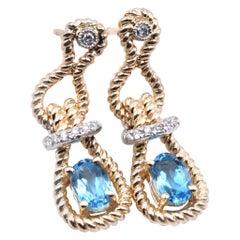 14 Karat Yellow Gold Blue Topaz and Diamond Rope Style Drop Earrings