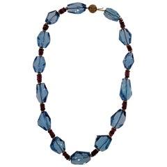 14 Karat Yellow Gold, Blue Topaz Beads, Rubelite, Necklace