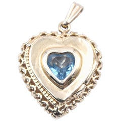 14 Karat Yellow Gold Blue Topaz Heart Pendant