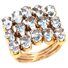 14 Karat Yellow Gold Blue Topaz Three-Tier Ring