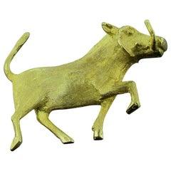 14 Karat Yellow Gold Boar Pin