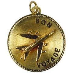 14 Karat Yellow Gold Bon Voyage Airplane Charm Pendant