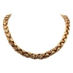 14 Karat Yellow Gold Braided Necklace 48.5 Grams