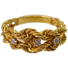 14 Karat Yellow Gold Braided Rope Chain Ring with Diamond Accents