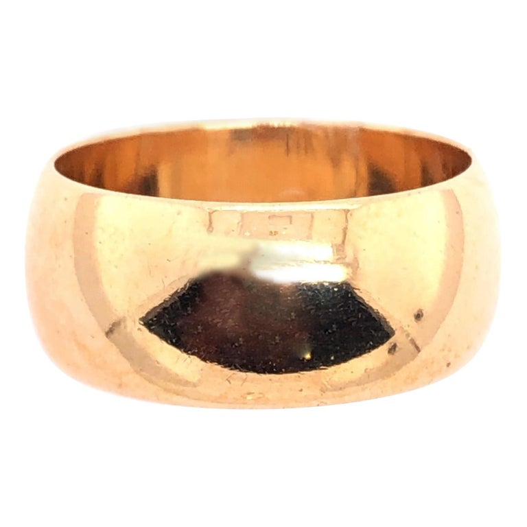 14 Karat Yellow Gold Bridal Ring / Wide Wedding Band For Sale