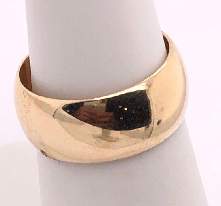 Modern 14 Karat Yellow Gold Bridal Ring / Wide Wedding Band For Sale