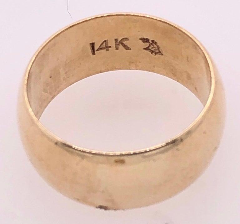 14 Karat Yellow Gold Bridal Ring / Wide Wedding Band For Sale 1
