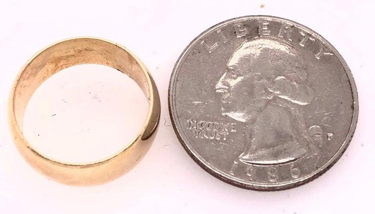 14 Karat Yellow Gold Bridal Ring / Wide Wedding Band For Sale 2