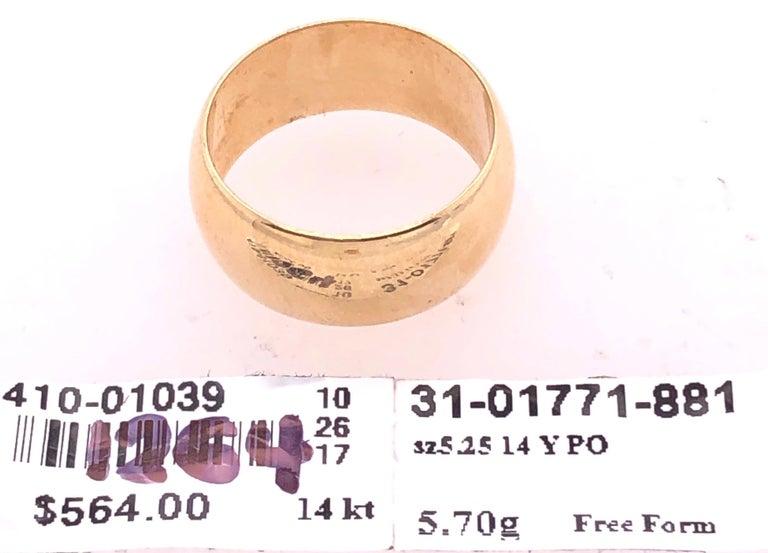 14 Karat Yellow Gold Bridal Ring / Wide Wedding Band For Sale 3