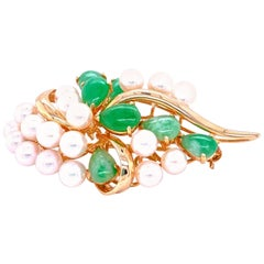 14 Karat Yellow Gold Broach with Akoya Pearls and Jadeite
