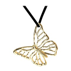 14 Karat Yellow Gold Butterfly Necklace on Suede