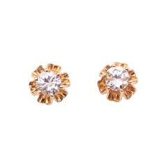 14 Karat Yellow Gold Button Diamond Earrings
