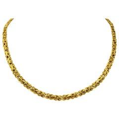14 Karat Yellow Gold Byzantine Link Chain Necklace