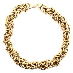 14 Karat Yellow Gold Byzantine Style Necklace 105.6 Grams