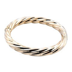 14 Karat Yellow Gold Cable Twist Bangle Bracelet