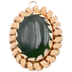 14 Karat Yellow Gold Cabochon Cut Jade Pin
