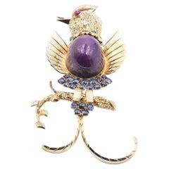 14 Karat Yellow Gold Cabochon Cut Ruby, Emerald, and Sapphire Bird Pin