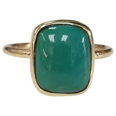 14 Karat Yellow Gold Cabochon Cut Turquoise Ring