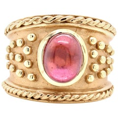 14 Karat Yellow Gold Cabochon Garnet Wide Band
