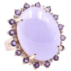 14 Karat Yellow Gold Cabochon Lavender Jade with Amethyst and Diamond Halo Ring