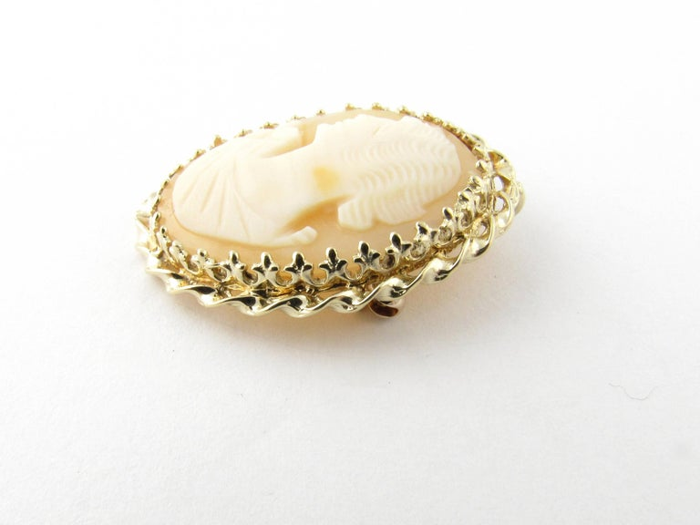 14 Karat Yellow Gold Cameo Brooch/Pendant In Good Condition For Sale In New Milford, CT