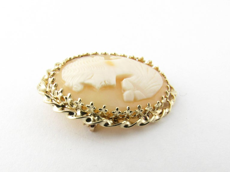 Women's 14 Karat Yellow Gold Cameo Brooch/Pendant For Sale