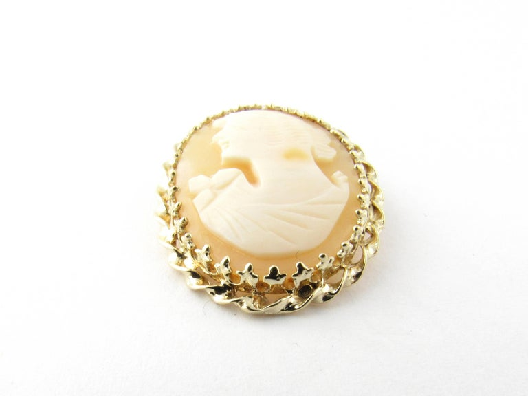 14 Karat Yellow Gold Cameo Brooch/Pendant For Sale 2