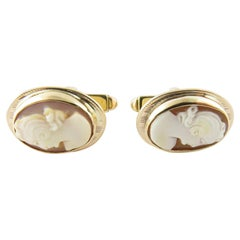 14 Karat Yellow Gold Cameo Cufflinks