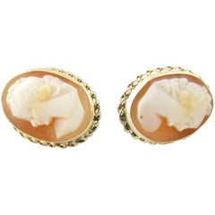 14 Karat Yellow Gold Cameo Earrings